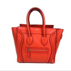 Celine Luggage Micro Shopper, Red